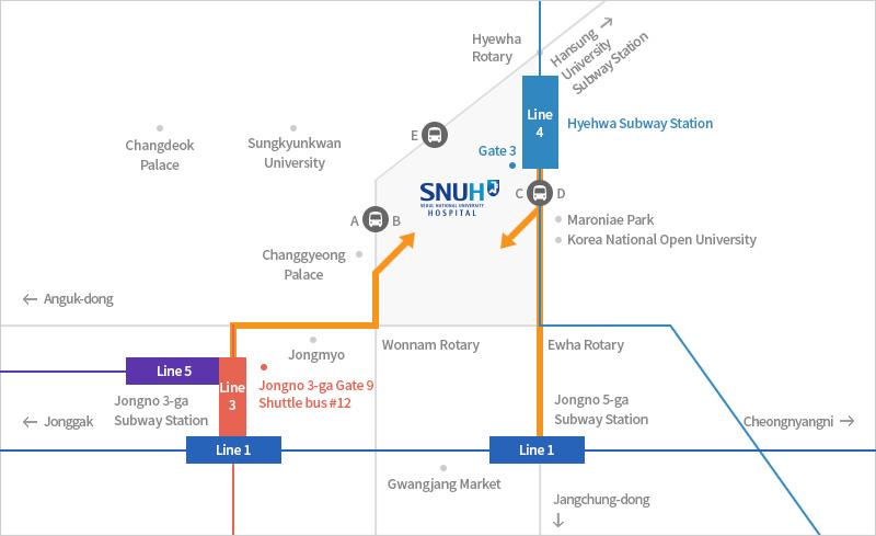 Jeongja Station Subway Map.Location Seoul National University Hospital