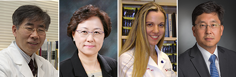 left Seoul National University Hospital's Professors  Sun Ha  Paek of Neurosurgery and Sunghye Park of Pathology, Harvard Medical School (MGH)'s Dr. Priscilla Brastianos of Oncology, Dana-Faber Cancer research Institute Dr. Willam Hahn of Oncology