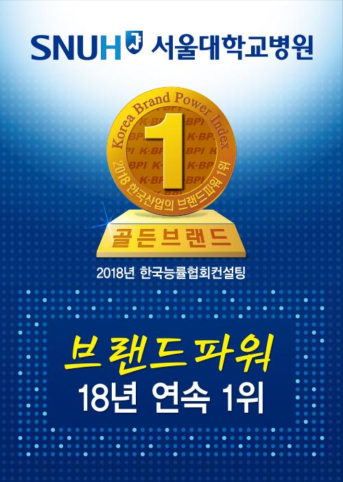 2018 제20차 한국산업의 브랜드파워(K-BPI) 종합병원 부문에서 1위